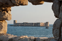 Castle of Maiden. Kizkalesi Maiden's Castle, which lies 200 m in the sea in evening light, Turkey Royalty Free Stock Images