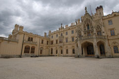 Castle Main Courtyard. Courtyard and main entrance of a castle in the Czech Republic stock photos