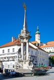 Castle and Main square, town Mikulov, South Moravia, Czech repub Stock Photos