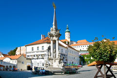 Castle and Main square, town Mikulov, South Moravia, Czech repub Stock Photography