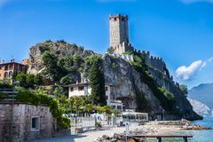 Castle in Malcesine on Lake Garda, Italy Royalty Free Stock Images