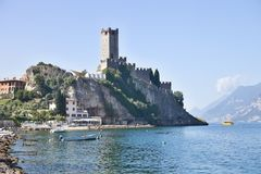 Castle in Malcesine on Lake Garda, Italy Royalty Free Stock Image