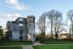 Castle of Mallow and gardens at sunrise. Cork, Ireland - November 12, 2017: Castle of Mallow and gardens. Scenic view at sunrise in Autumn with no people Stock Photo