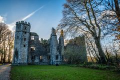 Castle of Mallow and gardens at sunrise. Cork, Ireland - November 12, 2017: Castle of Mallow and gardens. Scenic view at sunrise in Autumn with no people Stock Photography