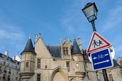 Castle in marais district  in Paris Stock Photos
