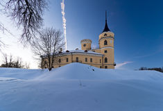 Castle. Mariental Castle in winter, earthworks under snow Royalty Free Stock Image