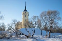 Castle Mariental in a winter landscape. Pavlovsk Stock Photos
