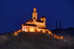 Castle Marksburg on Rhine river, Germany - night picture Stock Photography