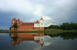 Castle. Medieval Mir castle and lake, Belarus Royalty Free Stock Images