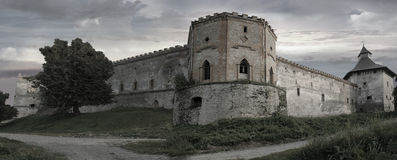 Castle in Medzhybizh, Ukraine. Gray tones. Royalty Free Stock Images