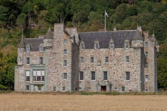 Castle Menzies. Aberfeldy, Scotland - September 22, 2012: Castle Menzies in Scotland is the ancestral seat of the Clan Menzies. It is located a little to the stock photo
