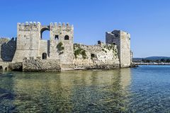The castle of Methoni Messenia Peloponnese Greece - medieval Venetian fortification. Greek landmarks royalty free stock photos