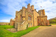Castle of Mey. Or Barrogill castle near Thurso and John o` Groats on north coast of the Highland in Scotland, United Kingdom on a sunny day. Popular landmark royalty free stock images