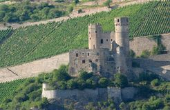Castle in the middle of the green of the vines near Bingen in the Rhine Valley in Germany Royalty Free Stock Image