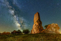 The Castle and the milkyway Royalty Free Stock Photo