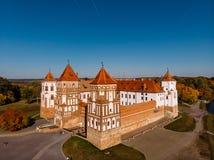 Castle Mir complex monument of Belarus stock photos