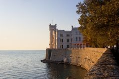 Sunset View of Miramare Castle in Trieste Stock Images