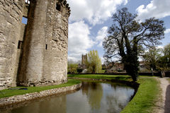 Castle and Moat. Medieval Castle and Moat in Rural England Royalty Free Stock Photos