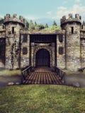 Castle moat and drawbridge Stock Images