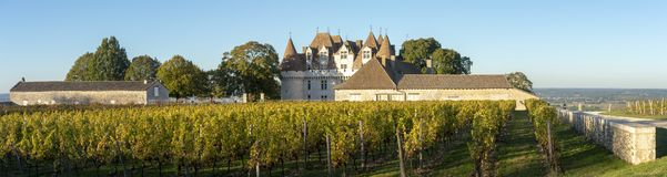 The castle of Monbazillac, Sweet botrytized wines have been made in Monbazillac royalty free stock photography