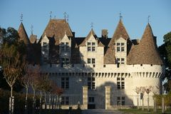 The castle of Monbazillac, Sweet botrytized wines have been made in Monbazillac royalty free stock images