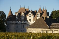 The castle of Monbazillac, Sweet botrytized wines have been made in Monbazillac royalty free stock photo