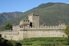 Castle of Montebello at Bellinzona Stock Photos