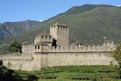 Castle of Montebello at Bellinzona. On the Swiss alps Stock Photos