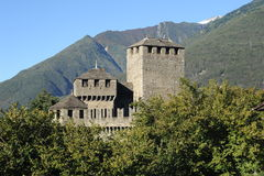 Castle of Montebello at Bellinzona. On the Swiss alps Royalty Free Stock Images