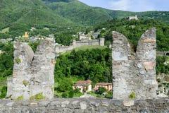 Castle Montebello and Corbaro view from Castelgrande at Bellinzo. Na on the Swiss alps Stock Image
