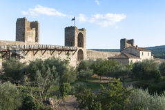 Castle of Monteriggioni, Tuscany. Fortification of Monteriggioni in the Siena Province of Tuscanya, a medieval walled town, located on a natural hillock stock photo