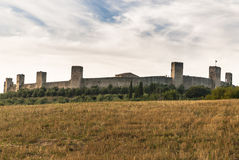 Castle of Monteriggioni, Tuscany. Fortification of Monteriggioni in the Siena Province of Tuscanya, a medieval walled town, located on a natural hillock royalty free stock image
