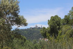 Castle Montjuic. Beautiful view of the castle Montjuic from the Park Guell Stock Photography