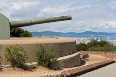 Castle of Montjuic with old canon in Barcelona Stock Photos