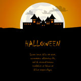 Castle and moon halloween background Royalty Free Stock Image