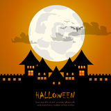 Castle and moon halloween background Stock Images