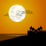 Castle and moon halloween background Royalty Free Stock Images