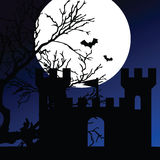 Castle on a moonlight color vector Royalty Free Stock Photography