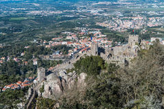 Castle of the Moors Castelo dos Mouros, Sintra, Portugal. Aerial view of the Castle of the Moors Castelo dos Mouros, Sintra, Portugal Royalty Free Stock Image