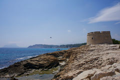 Castle of moraira. View of the small castle of moraira Stock Image