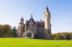Castle Moszna, Poland. Photo of old castle in a sunny day, Castle Moszna, Poland, Currently Neurosis Therapy Center Stock Photo