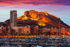 Castle on mount   during sunset. Alicante,  Spain Stock Images