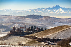 Castle and mount Viso in northern italy, langhe region, piedmont Royalty Free Stock Photography