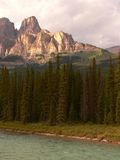 Castle Mountain. And Bow River. Banff National Park, Alberta, Canada Stock Photography