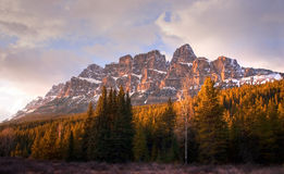 Castle Mountain, Banff, Alberta. Massive Cascade Mountain at sunset. Spring in Banff National Park Stock Photos