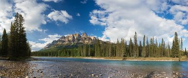 Castle Mountain in Banff National Park, Canada Bow valley under the surveillance of mighty Rocky Mountains. Beautiful summer scene stock image
