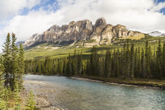 Castle Mountain and Bow River Royalty Free Stock Photos