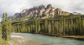 Castle Mountain Bow River Panorama Stock Photography