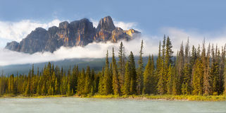 Castle Mountain in Canadian Rockies. Panoramic landscape view - Majestic Castle Mountain after rain, Banff NP, Canadian Rockies. Alberta royalty free stock image
