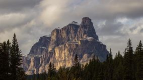Castle Mountain with cloudy sky stock footage